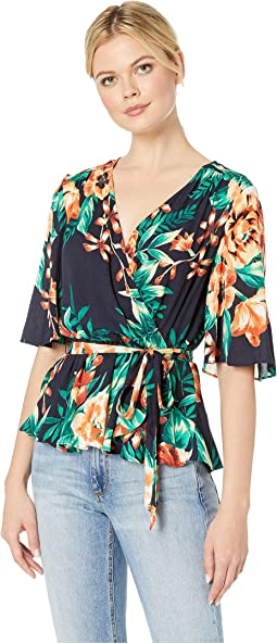 Tropical Floral Gauze Wrap Top