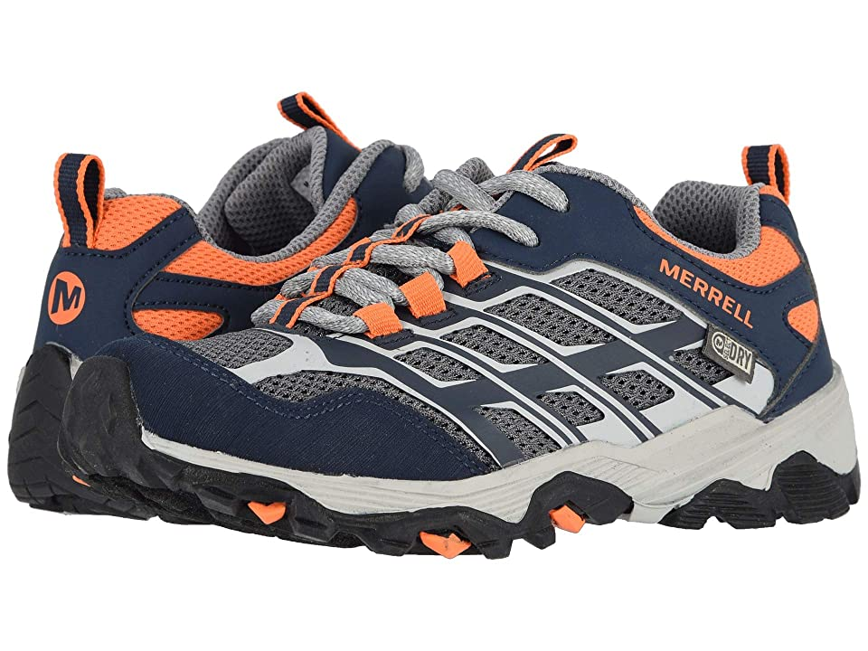 Merrell Kids Moab Low A/C Waterproof (Little Kid/Big Kid) (Navy/Grey/Orange) Boys Shoes