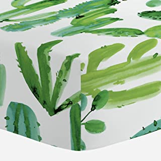 Carousel Designs Green Painted Cactus Crib Sheet - Organic 100% Cotton Fitted Crib Sheet - Made in The USA