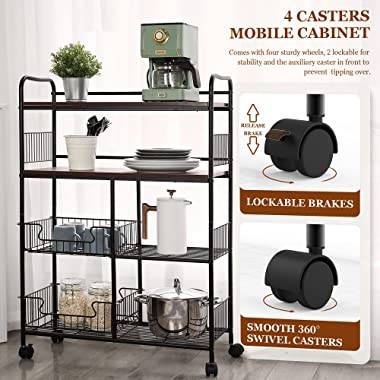Kitchen Bakers Rack Microwave Cart - 4-Tier Coffee Bar Storage Rack Microwave Stand on Wheels with Busket AnBaiMei Oven Shelf