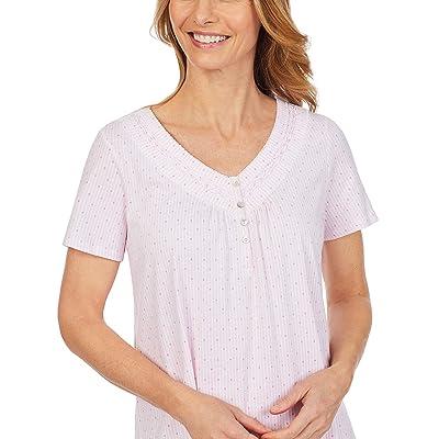 Carole Hochman Soft Jersey Short Sleeve Sleepshirt (Pink Stripe/Dot) Women