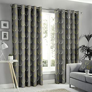 """Fusion - Delta - 100% Cotton Pair of Eyelet Curtains - 90"""" Width x 72"""" Drop (229 x 183cm) in Grey"""