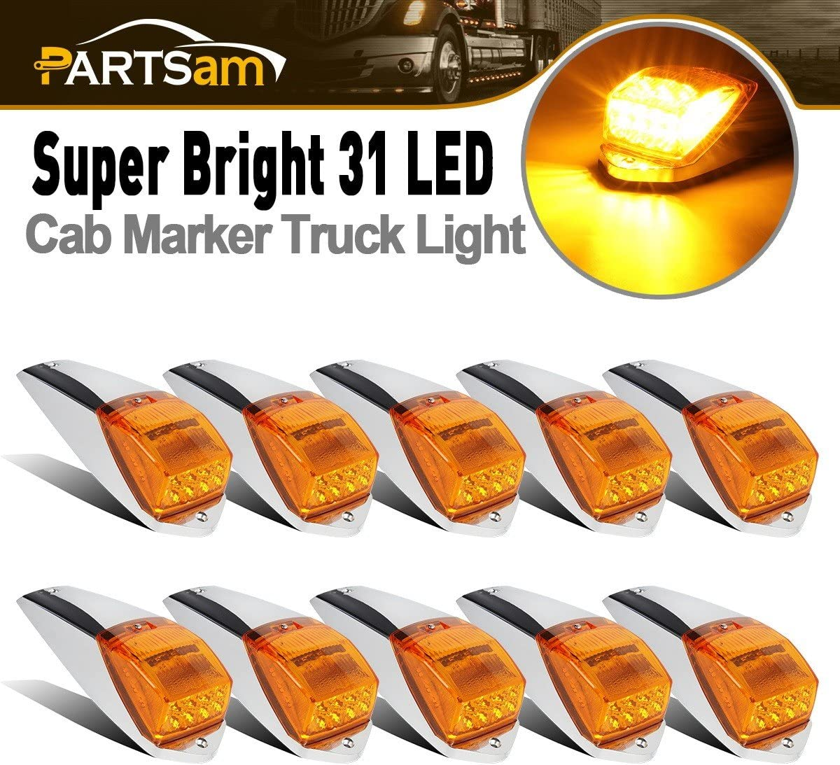 Partsam favorite Recommended 10Pcs Cab Top Roof Marker Amber lights Running Clearance
