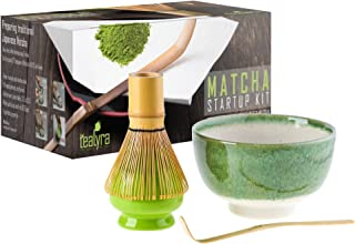 Tealyra - Matcha - Start Up Kit - 4 items - Matcha Green Tea Gift Set - Japanese Made Green Bowl - Bamboo Whisk and Scoop - Whisk Holder - Gift Box