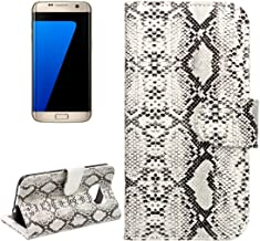 Practical Phone Case for Samsung Galaxy S7 Edge / G935 Snakeskin Texture Horizontal Flip Leather Case with Wallet & Holder & Card Slots Practical (Color : White)