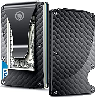 Carbon Fiber Money Clip Wallet - Aluminum Credit Card Wallet RFID - Mens Minimalist Slim Credit Card Holder - 2019 Upgraded Version