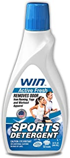 WIN Sports Detergent - Active Fresh (Blue) 1 Bottle - Specially Formulated for Sweaty Workout Clothes - Removes Odor from ...