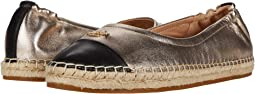 COACH Camryn Espadrille,Black/Champagne Metallic Leather