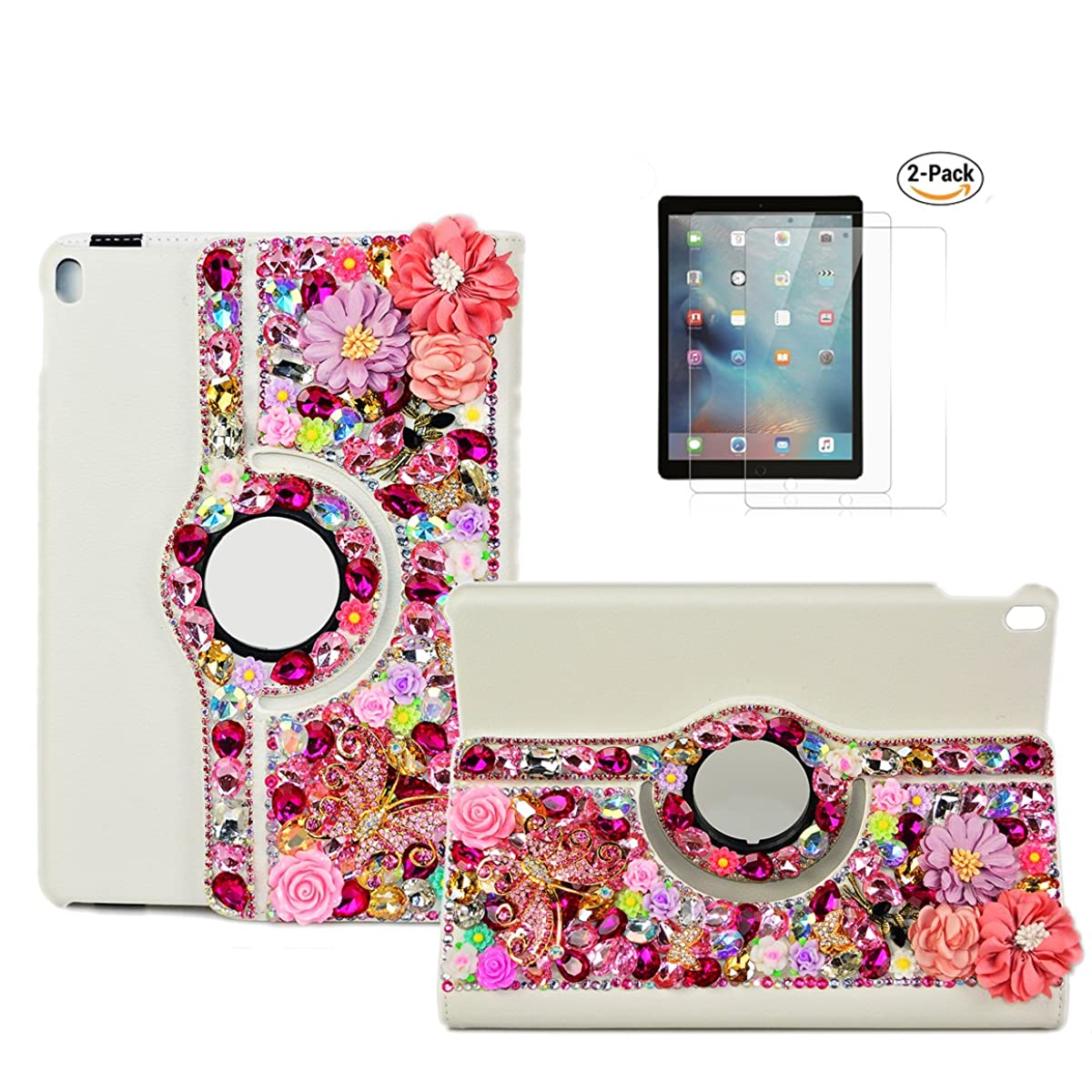 STENES iPad Pro 9.7 Case - STYLISH - 3D Handmade Bling Crystal Pretty Flowers Butterfly Rose Floral 360 Degree Rotating Stand Case With Smart Cover Auto Sleep/Wake Feature For iPad Pro 9.7