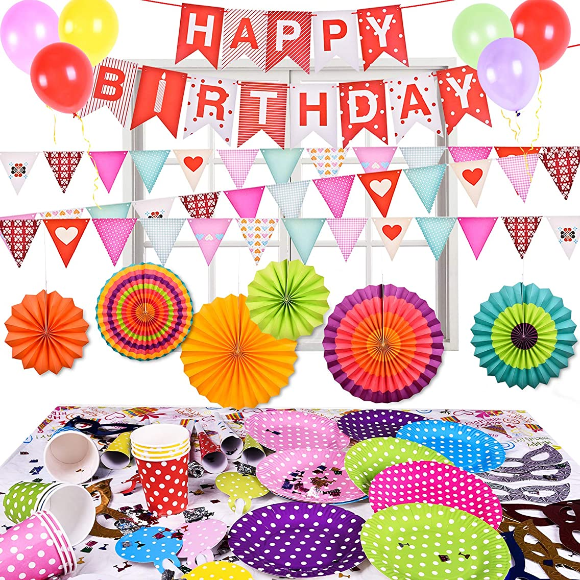 73Pcs Birthday Decorations Party Supplies Set All-in-One Pack Including Banner, Flags, Foil Party Balloons, Hats, Confetti, Tablecloth, Plates and More
