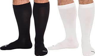 LISH 2 Pack Men's Wide Calf Compression Socks - 15-25 mmHg Knee High Plus Size Support
