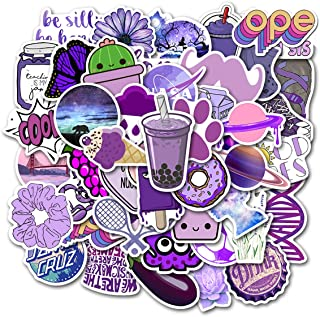 Stickers for Water Bottles, | Big 46-Pack | Cute,Waterproof,Aesthetic,Trendy Stickers for Teens,Girls,Perfect for Laptop,Hydro Flask,Phone,car,Skateboard,Travel| Extra Durable 100% Vinyl (Purple 50)