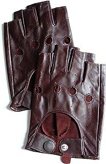 YISEVEN Men's Fingerless Lambskin Smooth Leather Gloves