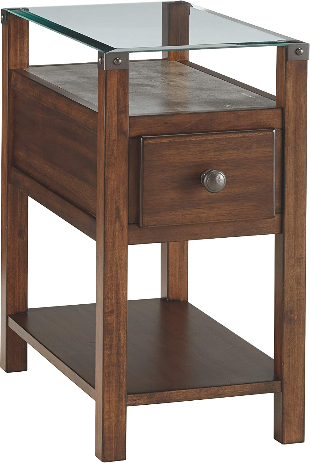 Signature Design by Ashley T217-533 Diamenton Chairside End Table Dark Brown