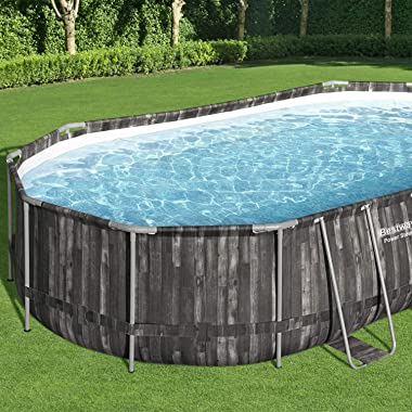 Bestway Power Steel 20 x 12 x 4 Foot Above Ground Oval Swimming Pool Set with Ladder, Cover, Pump, Replacement Cartridge, &am