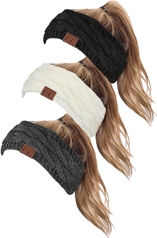 HW-6033-3-20a-062570 SOLID Headwrap Bundle - Black, Ivory, Charcoal (3 Pack)