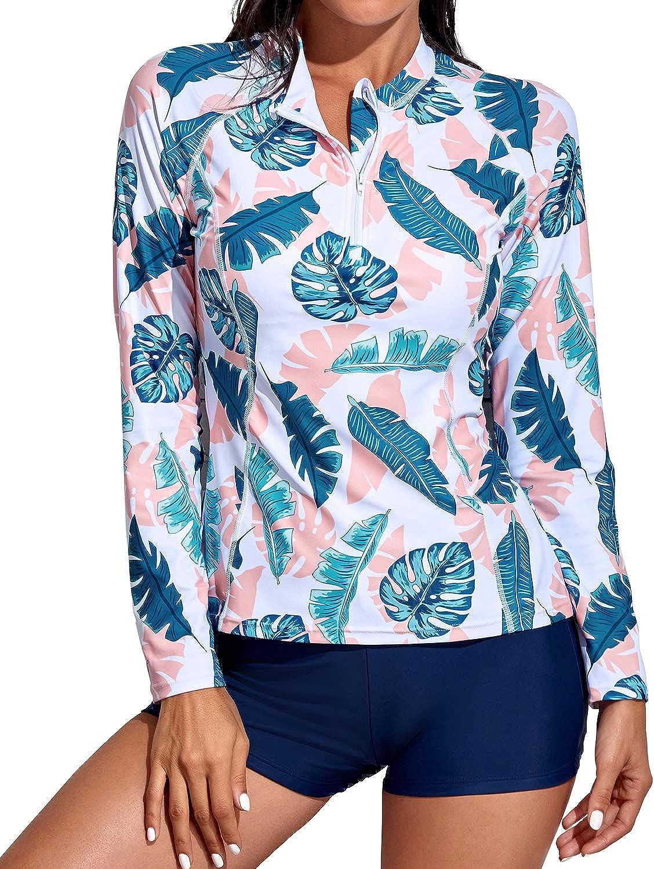 Daci Women Rash Guard Long Sleeve Zipper Boy Shorts Swimsuit UPF 50Bathing Suit