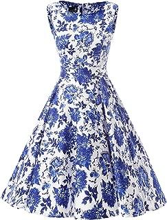 Summer Dress U Vintage 50s 60s Sleeveless Retro Style Rockabilly Swing Dress Floral Printed
