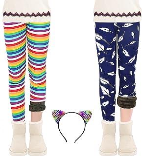 Sponsored Ad - ZukoCert Girls Leggings Winter Thick Warm Cotton Fleece Lined Pants 4-10 Years Rainbow Printing Warm Girls ...