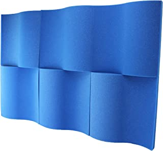 "Foamily 6 Pack - Blue Decorative Acoustic Panels Studio Foam Waves 2"" X 12"" X 12"""
