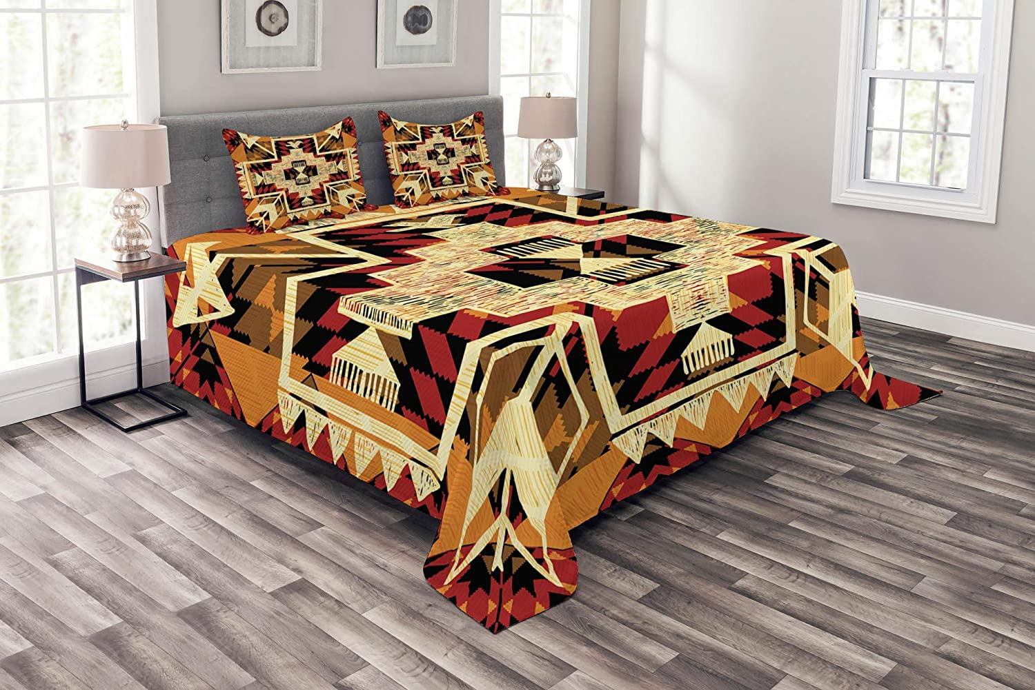 Ambesonne Arrow Bedspread, Inspired Pattern Graphic Design Abstract Art Earth Tones, Decorative Quilted 3 Piece Coverlet Set