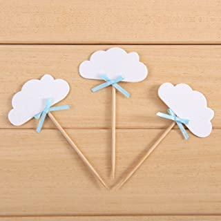 24 Pack White Clould Cupcake Toppers Kids' Birthday Party Decors - by Giuffi
