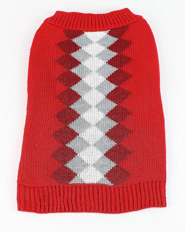 Midlee Argyle Dog Sweater (XLarge, Red)