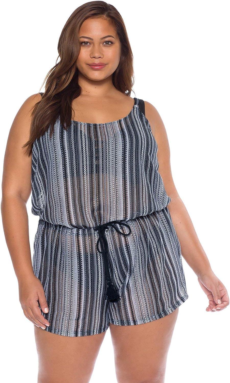 Becca Etc by Rebecca Virtue Women's Plus Size Crochet Tassel Romper Swim Cover Up