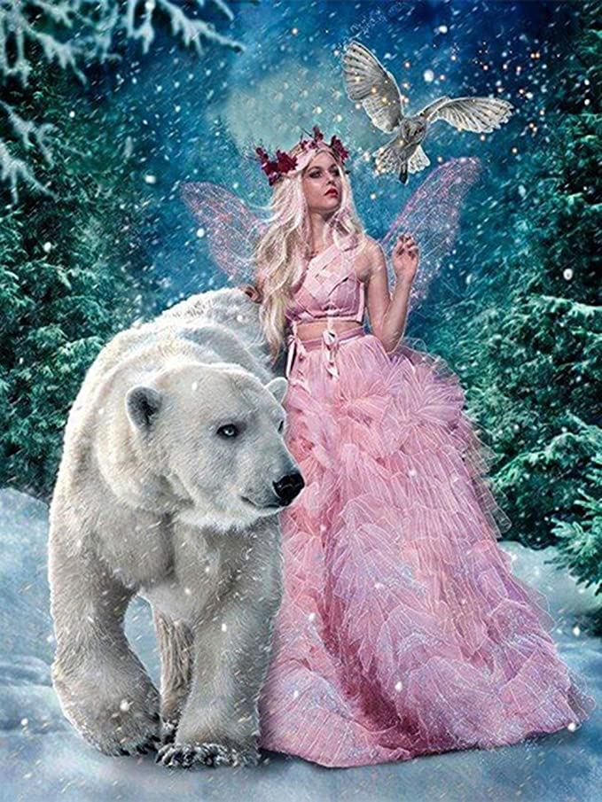 Diamond Painting by Number Kits Forest Fairy Christmas Decorations Full Drill 5D DIY Arts & Crafts Bling Artwork Decor Set with Crystal Rhinestone Gems 12x16