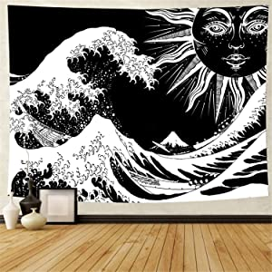 Sun and Wave Tapestry Black and White Tapestry Wall Hanging for Home Decor (X-Large, Sun Wave)