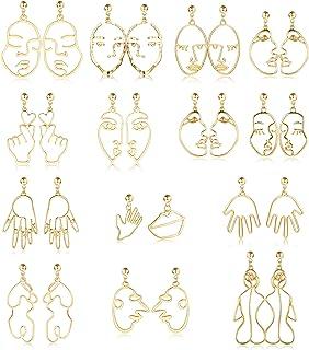 FIBO STEEL 14 Pairs Geometric Face Earrings for Women Egirl Fun Earrings with Weird Face Hand Abstract Art Design