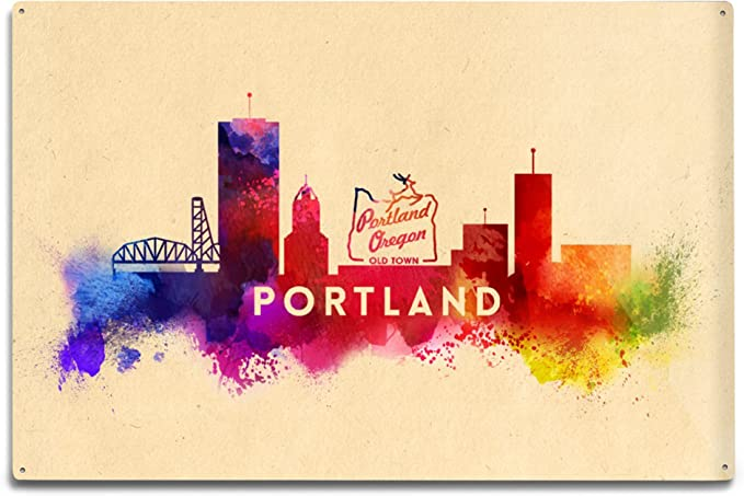 Tin Sign Deco City  Portland Oregaon firs Skyline Mountain Rose