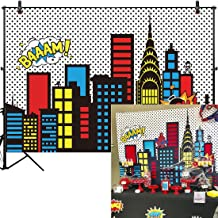 Allenjoy 10x8ft Superhero Themed Backdrops Super City Skyline Buildings Children Birthday Supplies Favors Decorations Photography Party Event Banner Photo Studio Booth Background Baby Shower Fabric