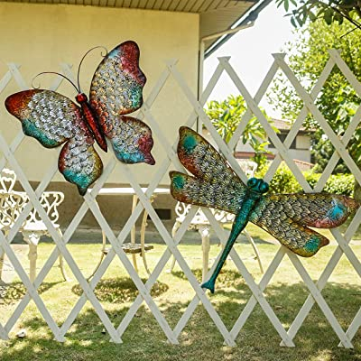 Kircust Garden Metal Dragonfly and Butterfly Wa...