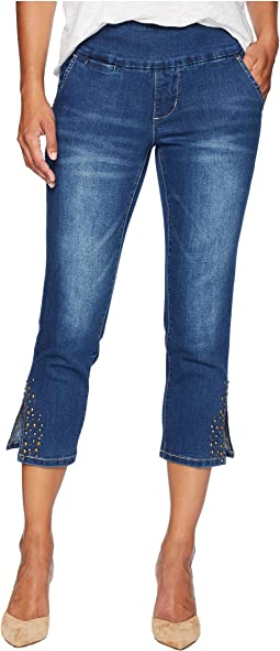 Petite Naomi Pull-On Crop w/ Studs in Kodiak Blue