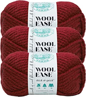 (3 Pack) Lion Brand Yarn 640-306 Wool-Ease Thick and Quick Yarn, 97 Meters, Poinsettia