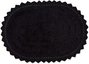 DII Crochet Collection Bath Mat, Small Oval, 17x24, Black