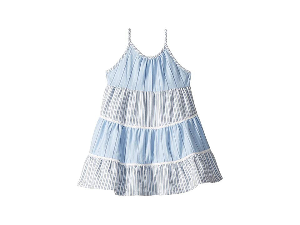 Polo Ralph Lauren Kids Tiered Striped Cotton Dress (Toddler) (Blue/White Multi) Girl