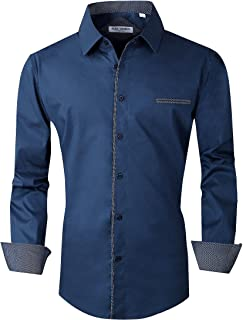 Mens Casual Button Down Shirts Long Sleeve Regular Fit Men Shirt