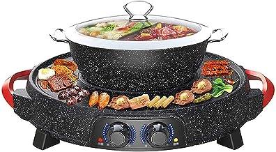 Grill électrique portable, Barbecue et pot chaud, barbecue de table et fondue avec revêtement en céramique antiadhésif éle...