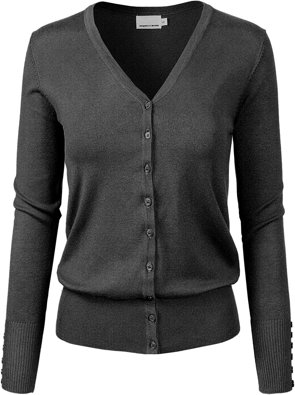 Design by Olivia Women's Classic Button Down Long Sleeve V-Neck Soft Knit Sweater Cardigan