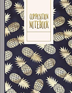 Composition Notebook: Pineapple Sketch Paper Book For Drawing, Sketching, Doodling - Large Journal Diary For Girls Women - Trendy Gold Blue Pattern