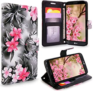LG Stylo 3 Case, Cellularvilla [Slim] [Card Slot] Premium Leather Wallet Case [Drop Protection] With Wristlet Book Style Flip [Stand] Cover For LG Stylo 3 Plus / LG Stylus 3 LS777 (Black Pink Flower)