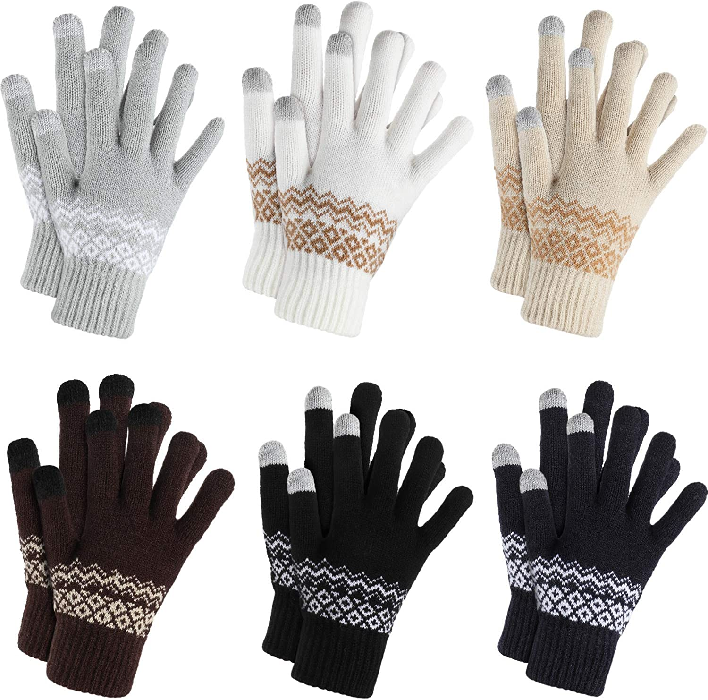 6 Pairs Knit Winter Gloves Touchscreen Gloves Windproof Gloves for Men Women