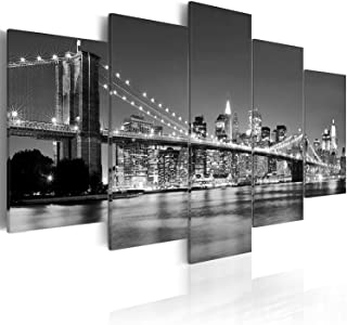 youkuart Canvas Wall Art Brooklyn Bridge Night View 5 Panels Modern Landscape Artwork Canvas Prints Abstract Pictures Sensation to Photo Paintings on Canvas Wall Art for Home Decorations Wall Decor