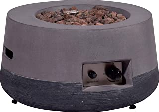 dobar Runder Outdoor Lava-Ofen mit Lavasteinen, Propangas-Flamme, Magnesium-Feuerstelle Feuerschale, Grau, 60 x 60 x 30 cm