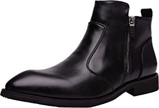 Yuruma Chelsea Boots Men Slip On Zipper Casual Dress Boots Martin Boots Pointed Black Leather Formal Ankle Boots