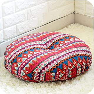 Linen Round Floor Cushions Meditation Cushion Large Flat Pads Japanese Futon Removable and Washable,156642 Bonia red,Diameter 60cm
