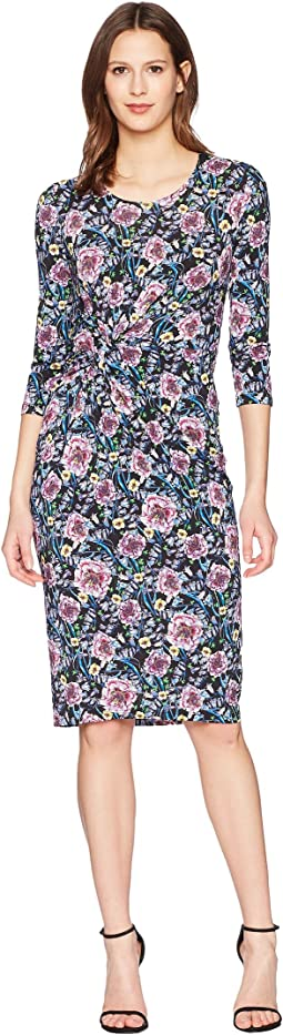 Prabal Gurung - Floral Jersey Shayla Long Sleeve Knot Front Dress