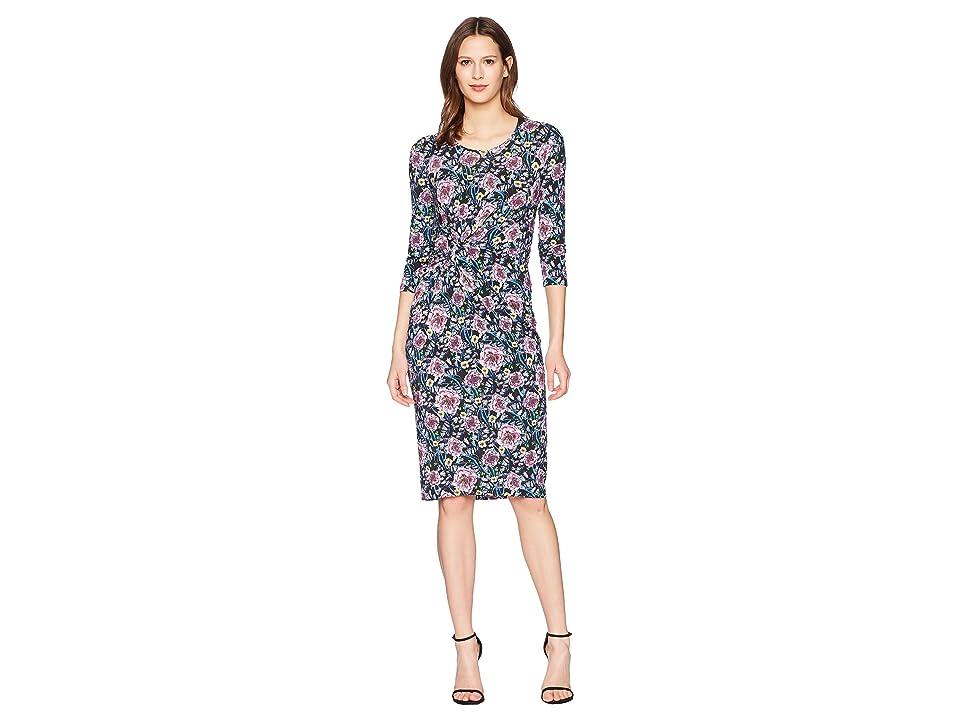 Prabal Gurung Floral Jersey Shayla Long Sleeve Knot Front Dress (Black Floral) Women